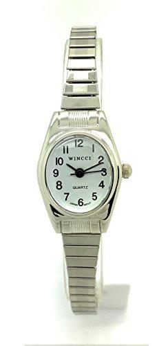 Ladies Classic Small Oval Stretch Elastic Band Fashion Watch Wincci (Silver) ()