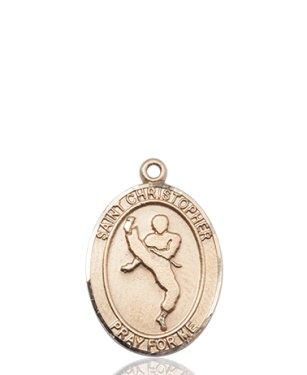 14kt Gold St. Christopher/Martial Arts Medal (Martial Arts Medal Pendant)
