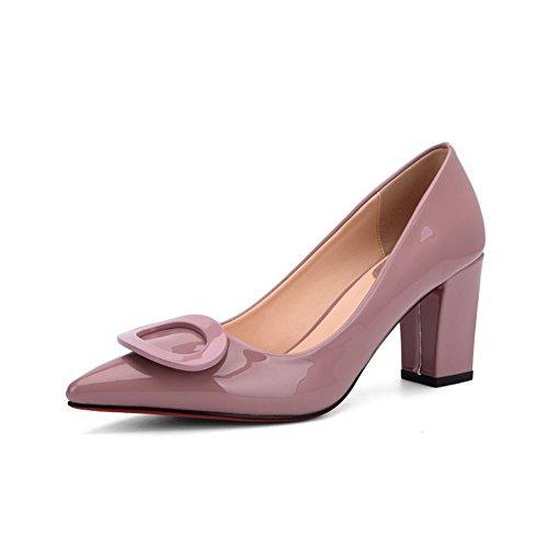 AalarDom Mujer Tacón Alto Sin cordones Puntera en Punta Material Suave Sólido De salón Rosa