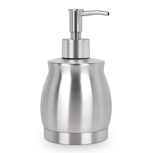 LaLa Dolce Stainless Steel Countertop Soap Dispenser Prime 390ml Liquid Bottle for Kitchen & Bathroom Hand Dish Lotion