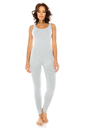 The Classic Women's Stretch Cotton Sleeveless One Piece Unitard Jumpsuit Playsuit in Gray - Small