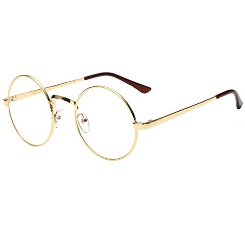 Scorpiuse Aviator Glasses Clear Lens Retro Metal Frame Eyeglasses (Round Gold, - Eyeglasses Frames Circular