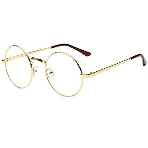 Scorpiuse Aviator Glasses Clear Lens Retro Metal Frame Eyeglasses (Round Gold, - Glasses Rimmed Wide