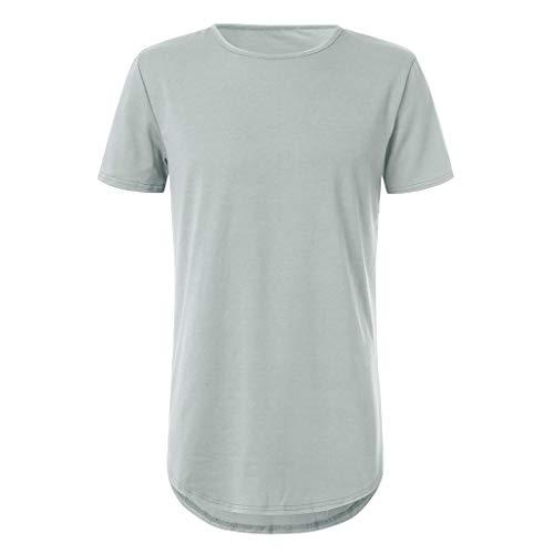 POQOQ T-Shirts Mens T-Shirt Workwear Pocket Short-Sleeve T-Shirt Men's Crew Neck T-Shirt Men's Loose-Fit Short-Sleeve Crewneck T-Shirts XL Gray ()