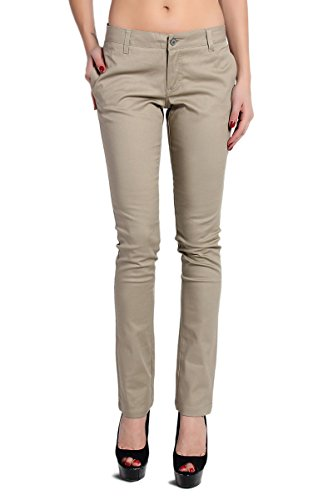 Slant Pocket (TheMogan Women's Dickies Lowrider Slant Pocket Skinny Pants-Khaki-11)