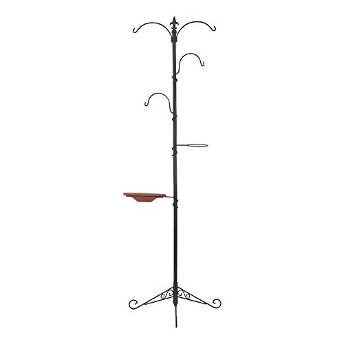 "Gray Bunny GB-6888 Premium Yard Tree Metal Stand- Bird Feeding Station Kit/Hanging Garden System, 79""(200 cm) Tall, Black, Wind Chime/Lantern Hanger/Planter Stand/Bird Bath/Wild Bird Feeder"