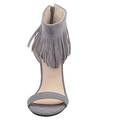 tinta grigio unita alto donna in Sandali con tacco cerniera con Gmxlb009897 Agoolar 4qFvf