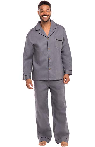 (Alexander Del Rossa Men's Lightweight Button Down Pajama Set, Long Cotton Pjs, XL Steel Grey (A0714STLXL))