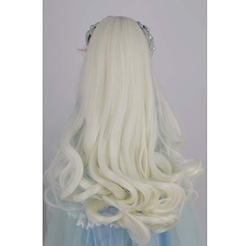 Prettyia Sweet 1/3 BJD Dolls Wave Wig Super Dollfie Wig Curly Long Hair Light -
