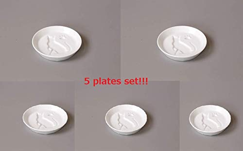 Yamako White Porcelain Soy Sauce Dish Cat 26233 Made in Japan 5 Plates Set