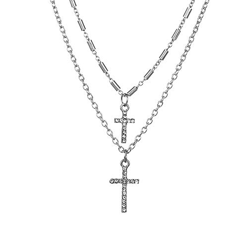 - Eiffy Boho Double Layered Crystal Cross Choker Necklace Pendants Catholic Religious Christian Statement Jewelry for Women (Silver)