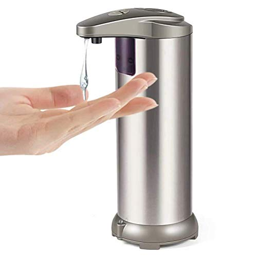 YiShuo Automatic Soap Dispenser with Waterproof Base; Premium Fingerprint Resistant Brushed Stainless Steel;Touchless Infrared Motion Sensor for Bathroom or Kitchen
