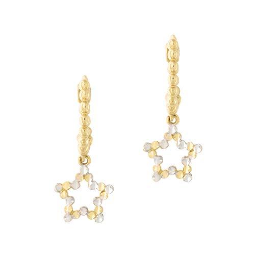 14k Yellow and White Gold Two Tone Diamond Cut Star Huggie Hoop Earrings ()