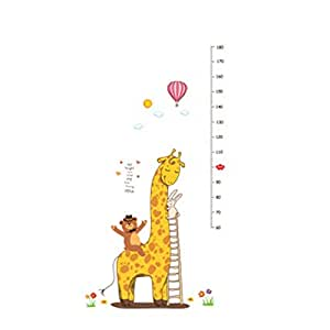 Removable Cartoon Giraffe Children Kid Growth Height Chart PVC Wall Sticker Beautiful frescoes