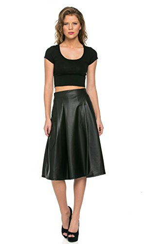 [Faux Leather A-Line Skirt in Black (Plus Sizes Available)] (Soho Black Leather)