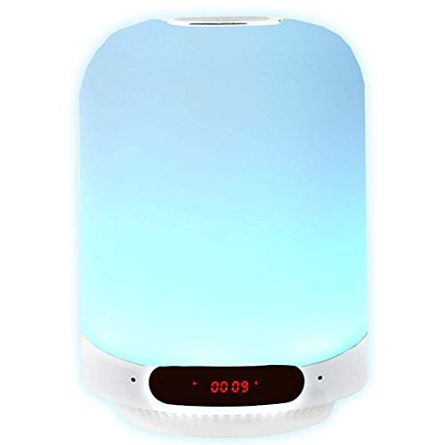 Speakers Bluetooth Wireless Smart Music Light Alarm Clocks for Bedroom RGB Color Changing Bluetooth Speaker Night Light USB Touch Dimmable Night Light for Kid (Bluetooth Spearkers Night Light, RGBW)
