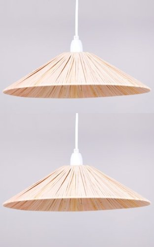 Pack of 2 raffia coolie pendant light shades amazon lighting pack of 2 raffia coolie pendant light shades mozeypictures Gallery