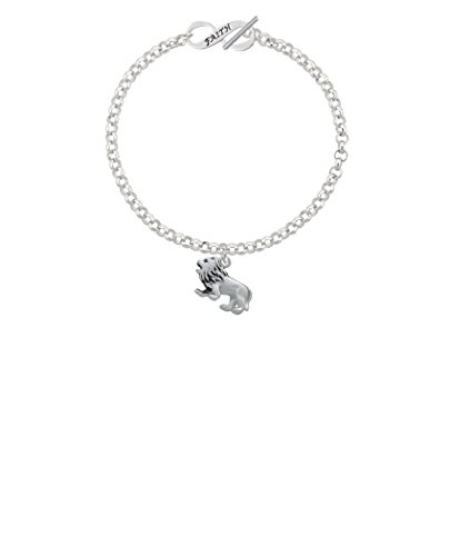 Silvertone 3-D Lion Faith Infinity Toggle Chain Bracelet, 8