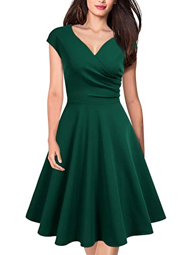 MISSMAY Women's Retro Deep V Neck Cap Sleeve Cocktail Party Fit and Flare Dress X-Large Green