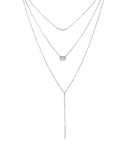 YOUMI Multilayer Chain Choker Lariat Y Necklaces - Long Layered Pendant Necklace Vertical Horizontal Bar Faux Druzy Jewelry Women Silver Tone