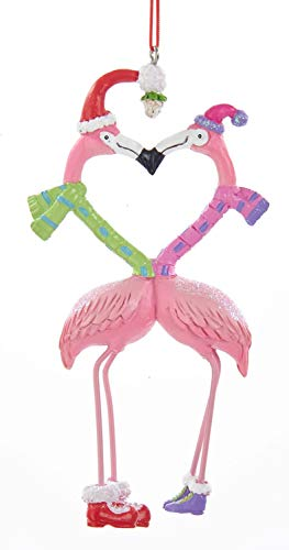 Flamingo Christmas Ornament - Kurt Adler RES KISSING FLAMINGOS HANGING ORNAMENT