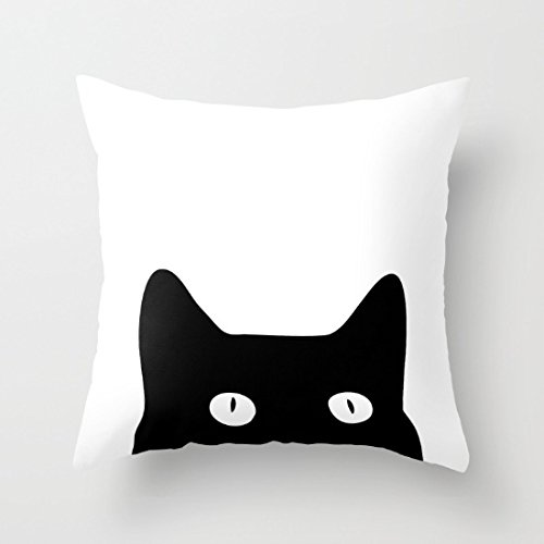 Decorative Square Pillow Case Cushion Cover 18X18 Inches Pillow Covers  Black Cat Throw Pillow Case