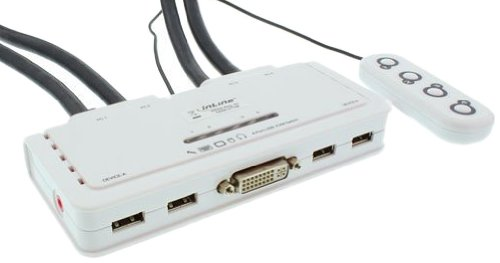 INLINE KVM Switch Adapter (4-Port, DVI, USB, Audio) weiß