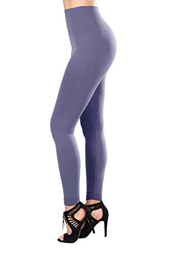 (SEJORA Fleece Lined Leggings High Waist Compression Slimming Warm Opaque Tights (One Size, Charcoal))