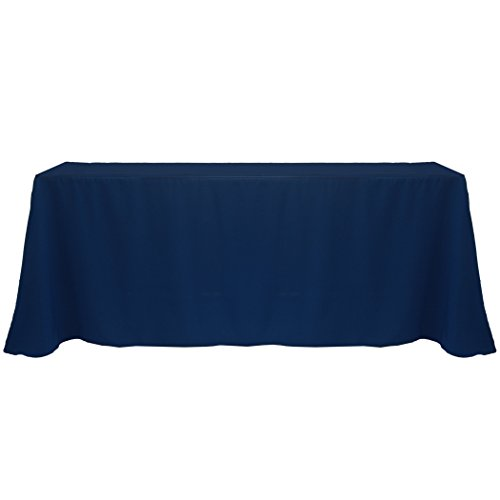 Ultimate Textile (2 Pack) 90 x 132-Inch Rectangular Polyester Linen Tablecloth with Rounded Corners - for Wedding, Restaurant or Banquet use, Navy ()