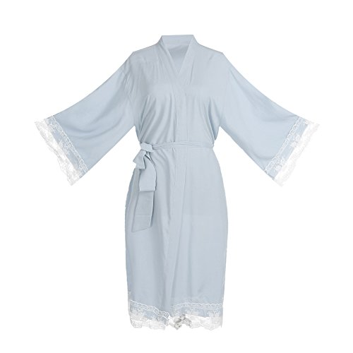 ellenwell Women's Cotton Knit Kimono Robe for Bride and Bridesmaid with Lace Trim Nightwear(Medium,Light-Blue)
