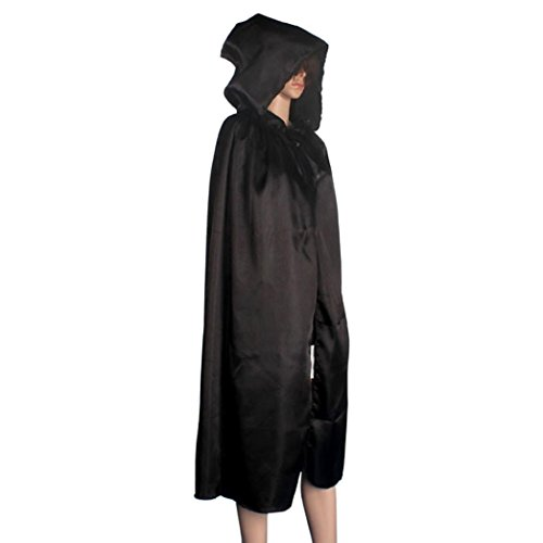 [Voberry® 1PC Hooded Cloak Coat Wicca Robe Medieval Cape Shawl Halloween Party (XL, Black)] (Womens Deluxe Hooded Robe Costumes)