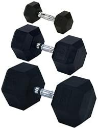 Rubber Encased Solid Hex Dumbbell 50lb EA