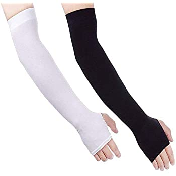 Arm Sleeves for Men,Homyeet UV Protection Cooling Arm Sleeves for Women,2 Pairs Compression Sleeve Arm with Thumb Hole,Long Arm Sleeve Sun Protection for Running,Cycling,Fitness,Hiking,Driving