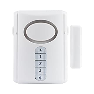 GE Deluxe Wireless Door, 120 Decibel, Alarm or Entry Chime, Indoor Personal Security, with Keypad Activation, 45117, Kit, White