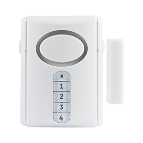 Deluxe Door - GE Deluxe Wireless Door Alarm, 120 Decibel, Alarm or Entry Chime, Indoor Personal Security, with Keypad Activation, 45117