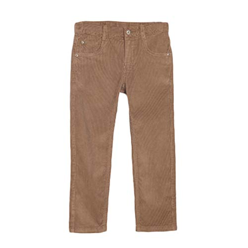 bossini Boy's Slim Pants, Uniform Solid Fit Flat Corduroy Daily Trousers Chinos 100,US Size 4t - Brown