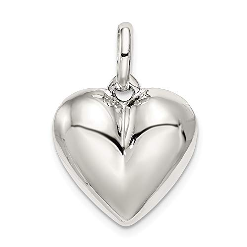 Solid 925 Sterling Silver Puffed Heart Pendant Charm (16mm x 22mm)