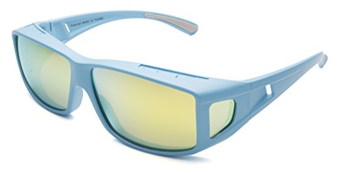 Mr.O Fitover Polarized Sunglasses + Ultra thick Microfiber Pouch (Blue, Light brown w/yellow ()