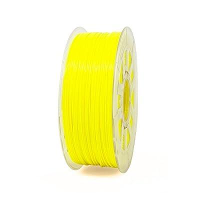 Gizmo Dorks 3mm (2.85mm) PLA Filament 1kg / 2.2lb for 3D Printers, Fluorescent Yellow (UV Light)
