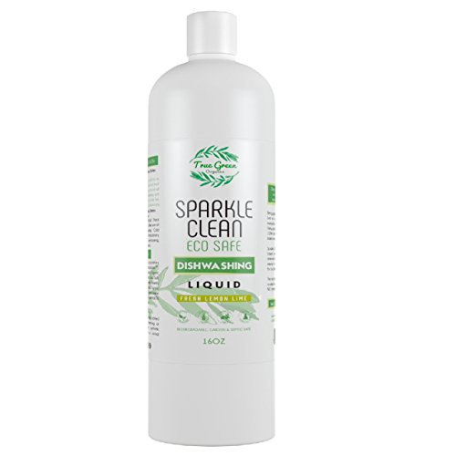 100% Organic Dish Soap Liquid & Dish Washer Detergent, Sparkle Clean by True Green Organics, Non Toxic, All Natural Ingredients, Septic & Water Safe, Concentrated - Lemon Lime (16 Ounces)