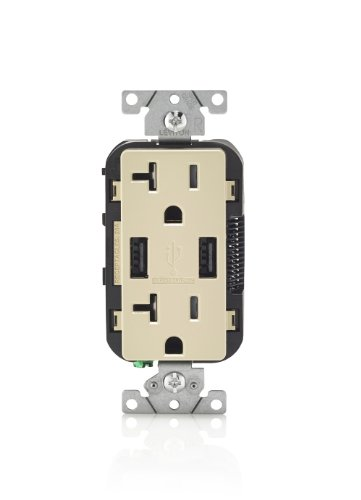 Leviton T5832-I 20-Amp USB Charger/Tamper Resistant Duplex Receptacle, Ivory
