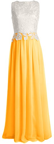 MACloth Women Lace Chiffon Long Prom Dress Wedding Party Bridesmaid Formal Gown Amarillo