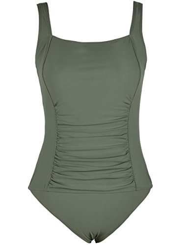 Mycoco Women's Shirred One Piece Swimsuit Tank Bathing Suits Tummy Control Swimwear Army Green 10 - Back Support Control