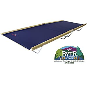 BYER OF MAINE, Allagash Plus, Cot, 76″ L X 30″ W X 8″ H, Lightweight Cot, Extra Wide, Camping Cots Adult, Holds up to 250lbs, Single, Portable Camping Cot