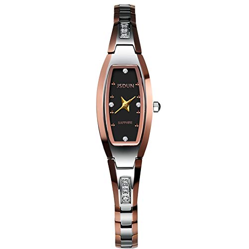 JSDUN Women Lady Elegant Slim Bracelet Square Oval Faces Diamond Dress Waterproof Mechanical Automatic Wrist Watches, Silver/Rose Gold/Gold Tungsten Steel Tone ()