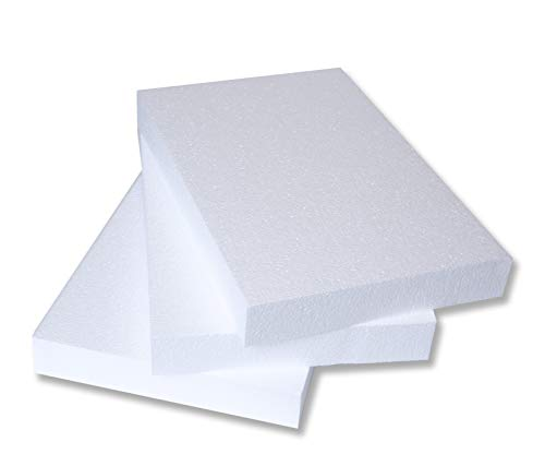Silverlake Craft Foam Block - 3 Pack of 11x17x2 EPS Polystyrene Styrofoam Blocks for Crafting, Modeling, Art Projects and Floral Arrangements - Sculpting Sheets for DIY School & Home Art Projects -
