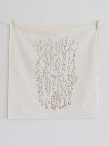 Birch Tree Flour Sack Towel in Mocha Brown - Woodland Tea Towel - Natural Cotton Kitchen Towel - Eco Friendly Dishcloth