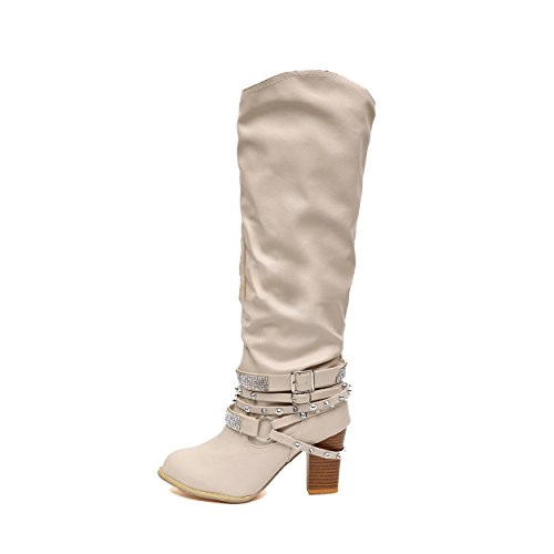 (SNIDEL Women's Riding Boots Knee High Chunky High Heels Mid Calf Punk Booties Stud Shoes Beige 6.5 B (M) US)