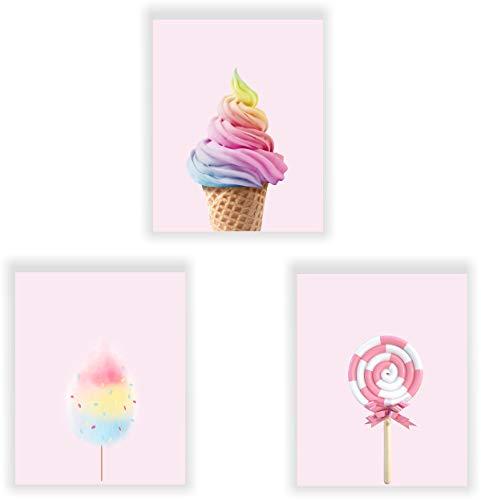 Barri Design Ice Cream Prints, Lollipop Print, Cotton Candy Prints, Candy Poster Modern Art Poster Pink Poster, Girls Room Decor (UNFRAMED)