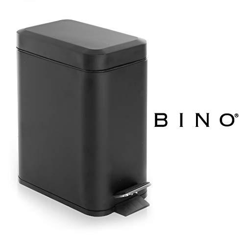 BINO Stainless Steel 1.3 Gallon / 5 Liter Rectangle Step Trash Can, Matte Black - Trailers Mini Metals